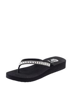 Yellow Box Black Flip Flops Wedge Sandals