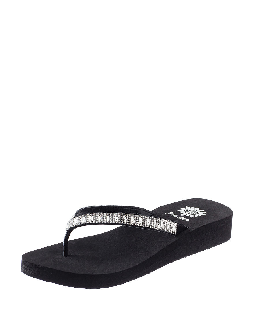 Yellow Box Black Flip Flops