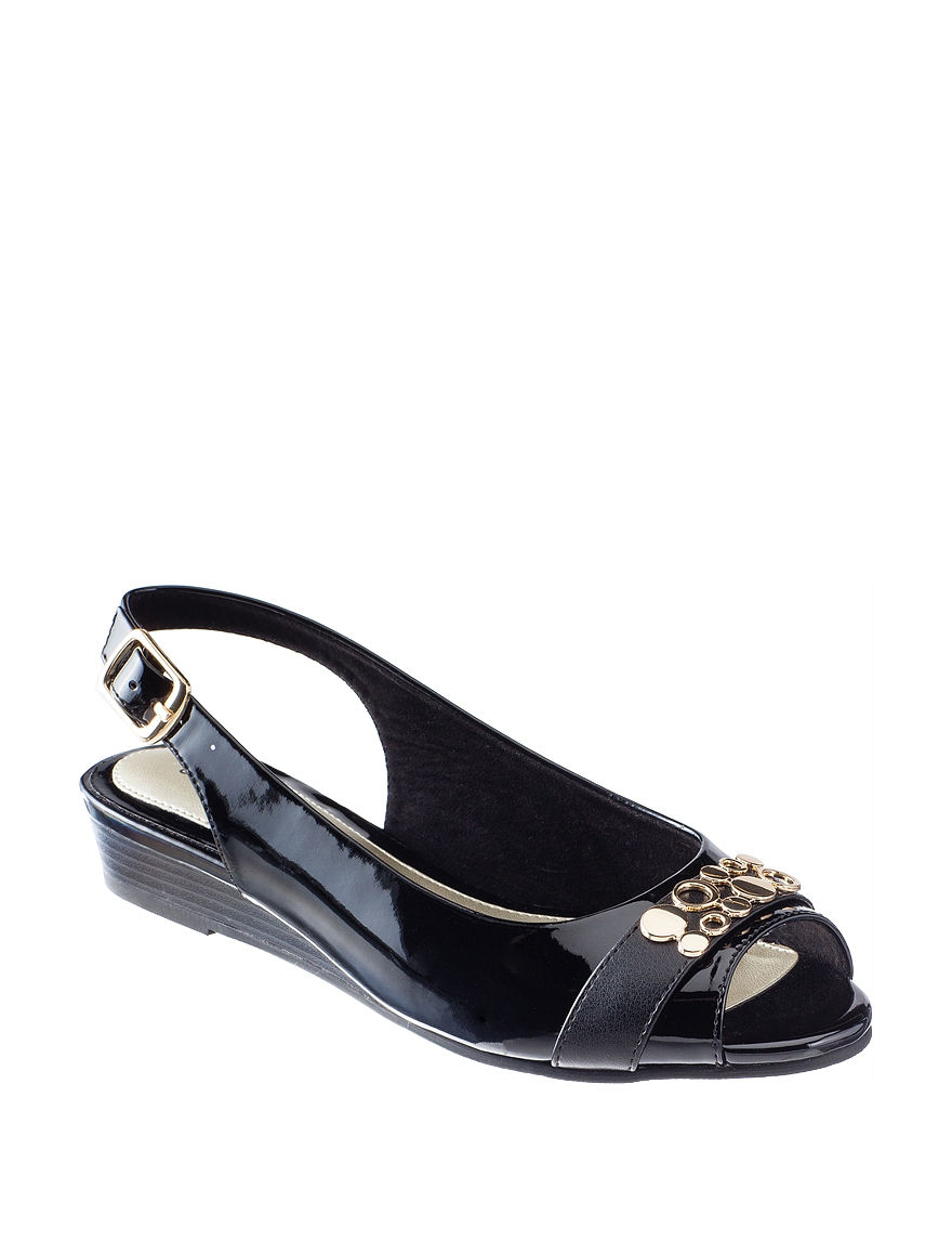 Easy Street Black Wedge Sandals