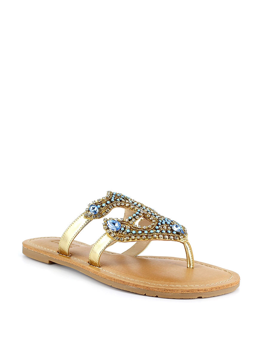 Dolce by Mojo Moxy Gold Flat Sandals
