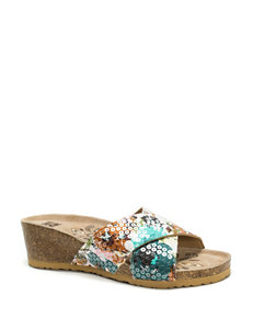Muk Luks Green Wedge Sandals