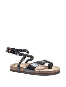 Muk Luks Black Flat Sandals