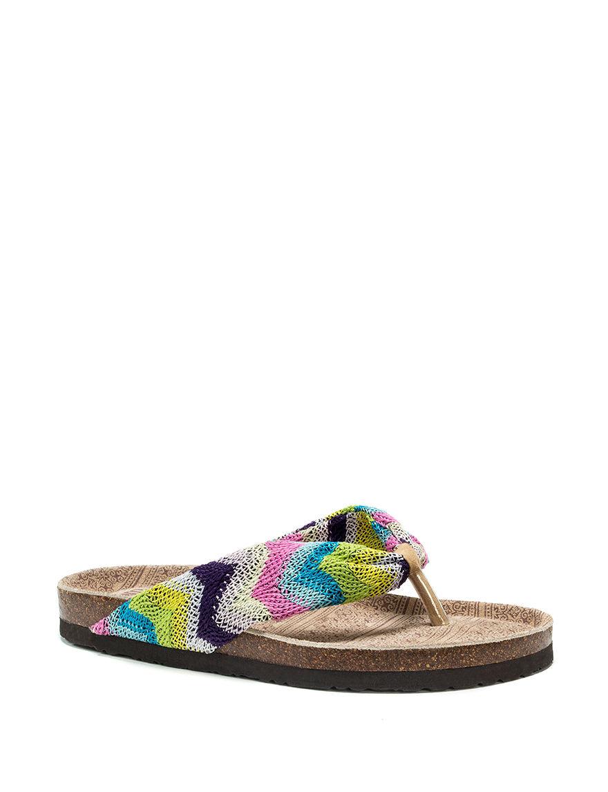 Muk Luks Green/Blue Flat Sandals Flip Flops