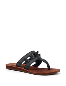 Diba True Black Flat Sandals Flip Flops