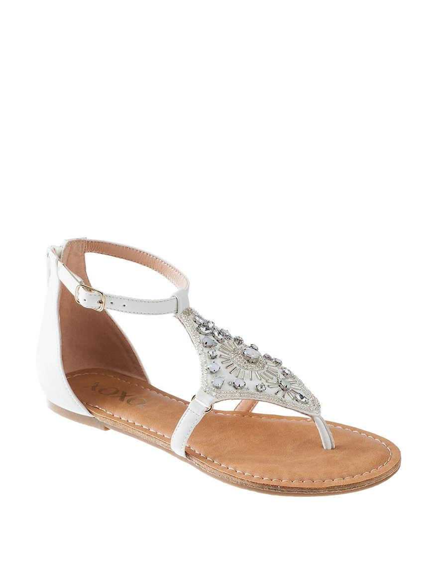 XOXO White Flat Sandals