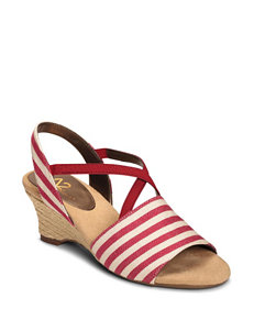 A2 by Aerosoles Red Espadrille Wedge Sandals Comfort
