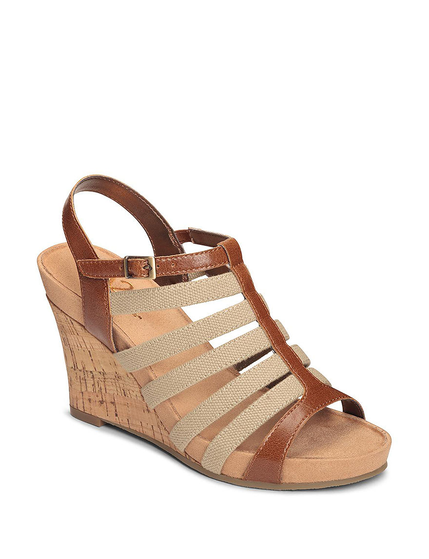 A2 by Aerosoles Tan Wedge Sandals Comfort
