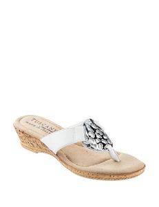 Easy Street White Flip Flops Wedge Sandals