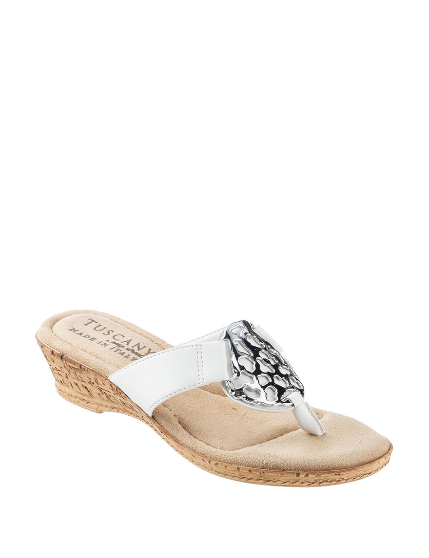 Easy Street White Wedge Sandals