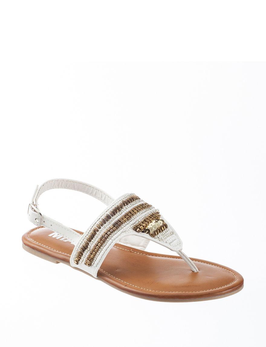 MIA White Flat Sandals