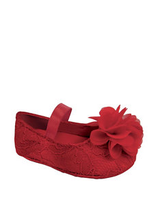 Wee Kids Red Lace Flower Accent Ballet Crib Shoes – Baby 0-3
