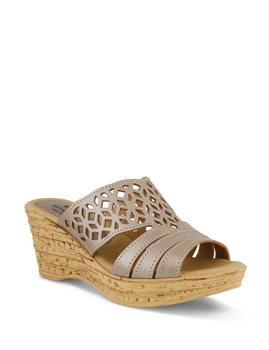 Spring Step Gold Wedge Sandals