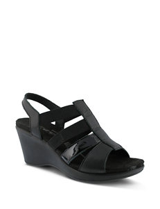 Flexus Black Wedge Sandals
