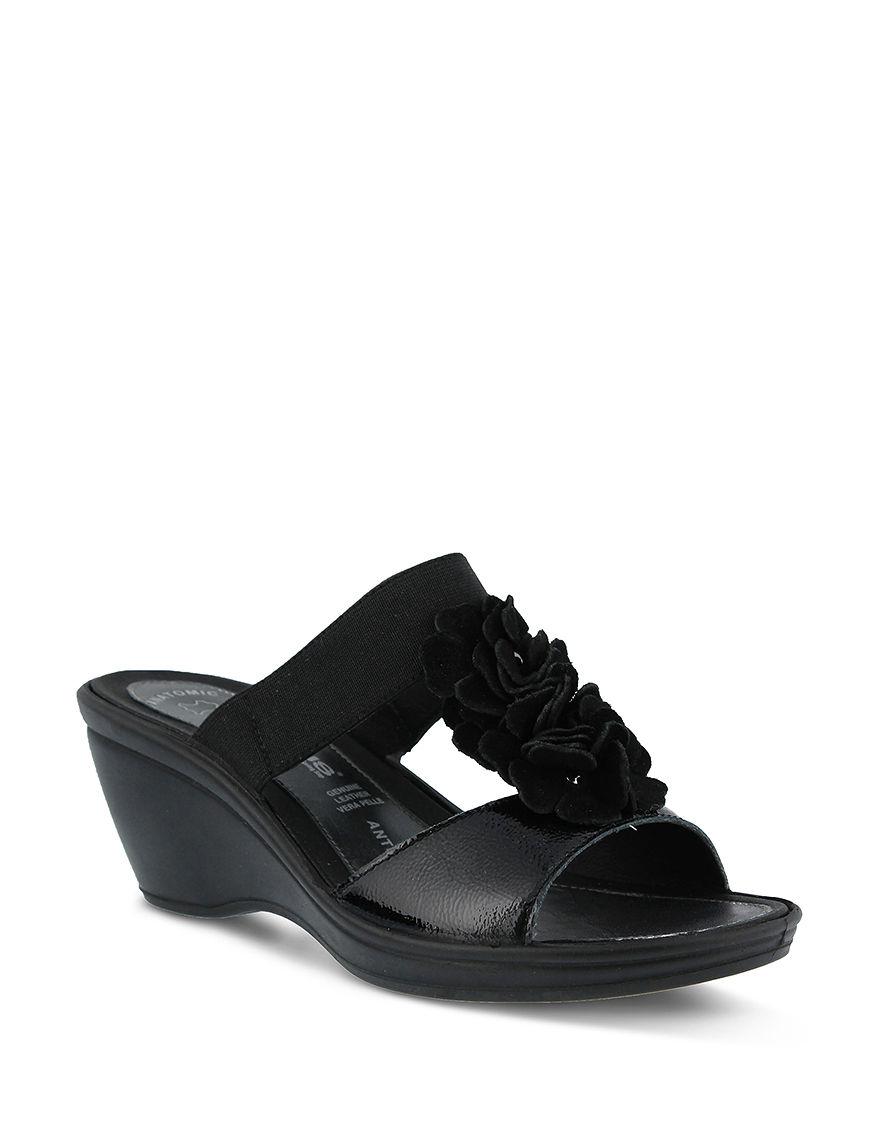 Flexus Black Wedge Sandals
