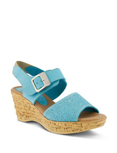 Spring Step Turquoise Wedge Sandals
