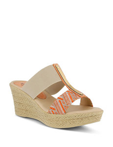 Spring Step Orange Espadrille Sandals Wedge Sandals