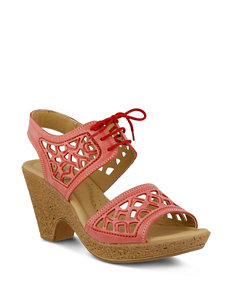 Spring Step Coral Wedge Sandals