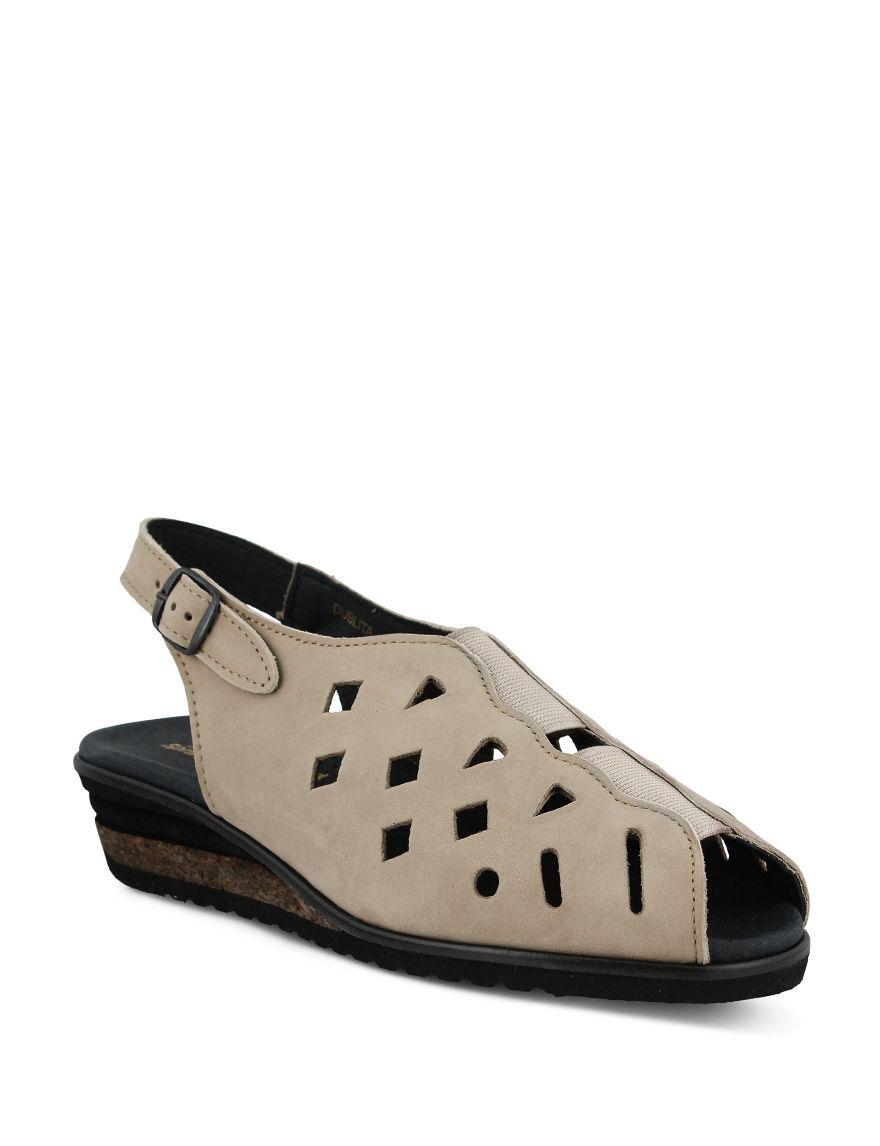 Spring Step Beige Wedge Sandals