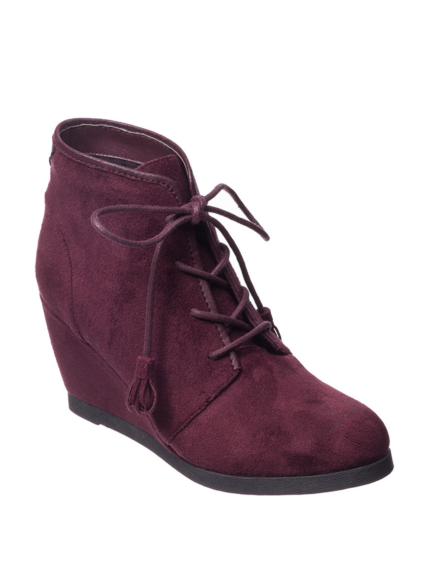 Madden Girl Burgundy Ankle Boots & Booties Wedge Boots