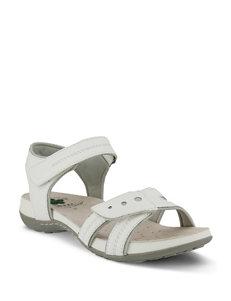 Spring Step White Flat Sandals