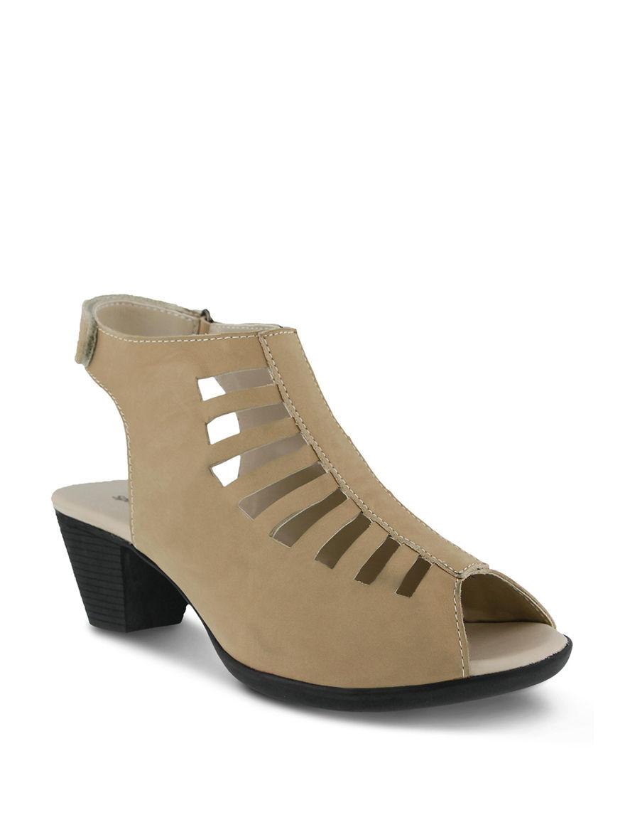 Spring Step Beige Heeled Sandals
