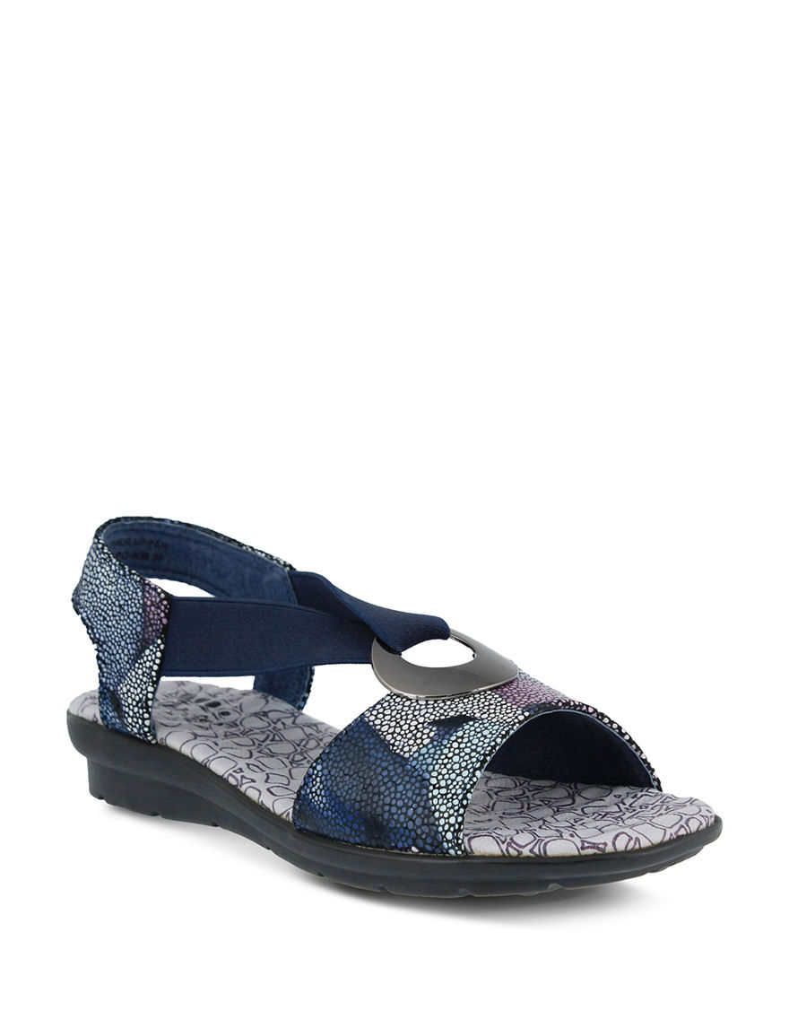 Spring Step Navy Flat Sandals