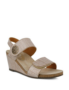 Spring Step Champagne Flip Flops Wedge Sandals