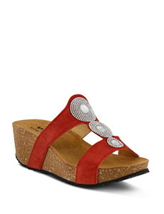Spring Step Red Wedge Sandals