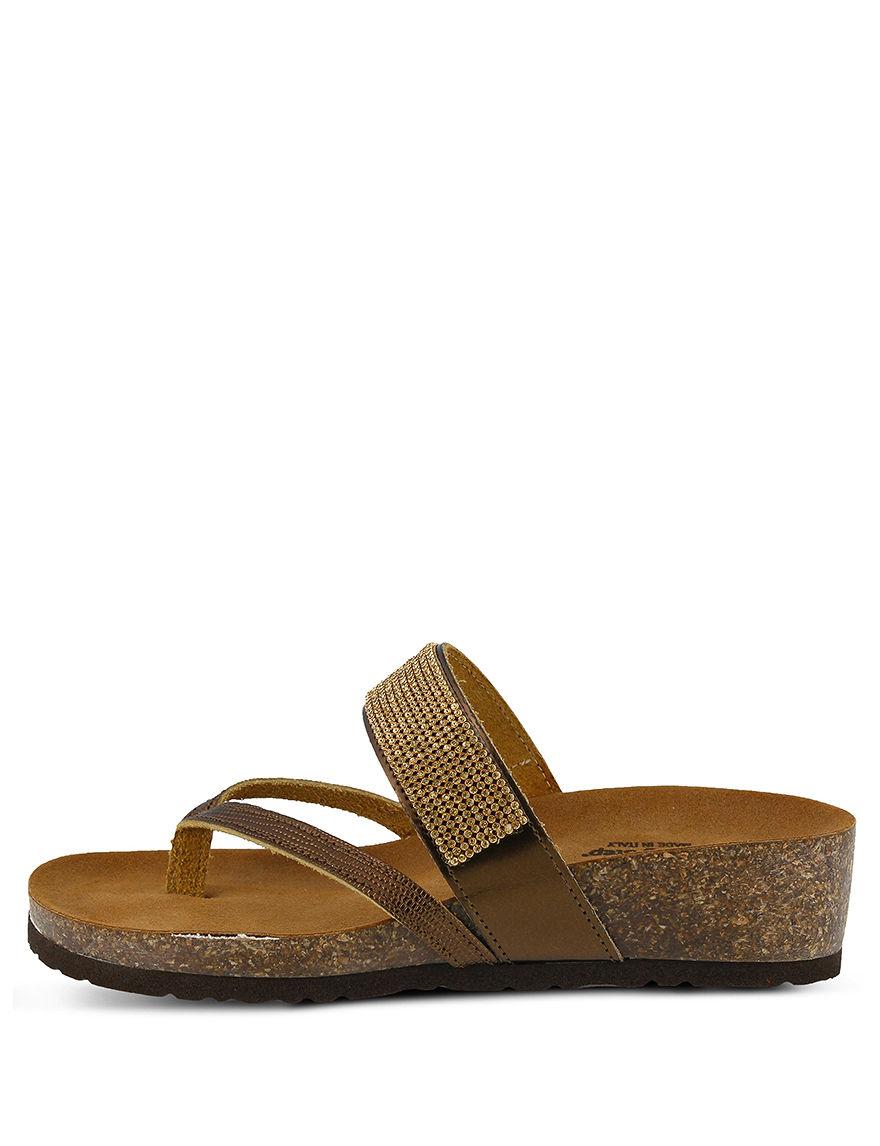 Spring Step Bronze Flip Flops Wedge Sandals