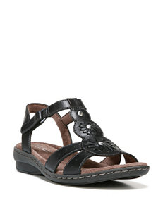 Natural Soul Black Flat Sandals