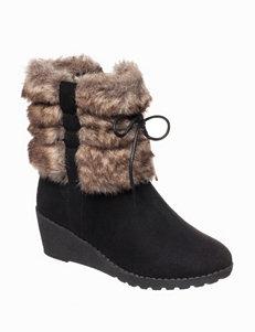 Kensie Furry Wedge Boots
