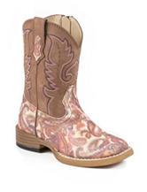 Roper Glitter Paisley Print Western Boots –Toddler Girls 5-8