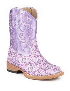 Roper Lavender Glitter Floral Print Western Boots –Toddler Girls 5-8