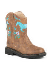 Roper Horse Flowers Western Boots –Girls 9-3