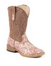 Roper Glitter Paisley Print Western Boots – Girls 9-3
