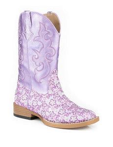 Roper Lavender Floral Western Boots –Girls 9-3