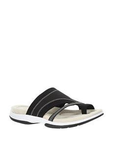 Easy Street Black Leather/Fabric Flat Sandals