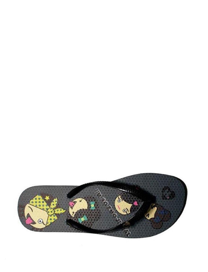 Harajuku Black Flip Flops
