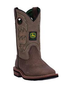 John Deere Growin' Like A Weed Square Toe Sanded Tan Boots – Boys 8-3