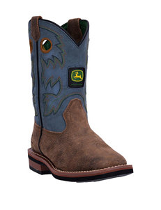 John Deere Growin' Like A Weed Square Toe Sanded Blue Boots – Boys 8-3