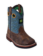 John Deere Johnny Popper Broad Square Sanded Blue Boots – Toddler Boys 4-8
