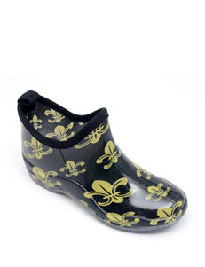 Corkys Black / Gold Rain Boots