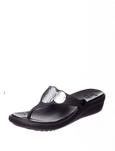 Crocs Black / Silver Wedge Sandals