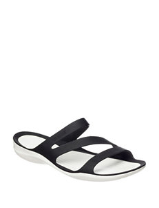 Crocs Black /  White Flat Sandals