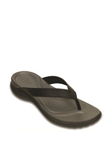 Crocs Black Flat Sandals Flip Flops