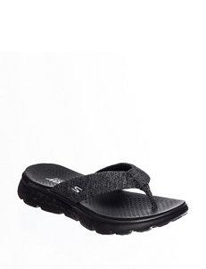 Skechers Black Flat Sandals Flip Flops Sport Sandals