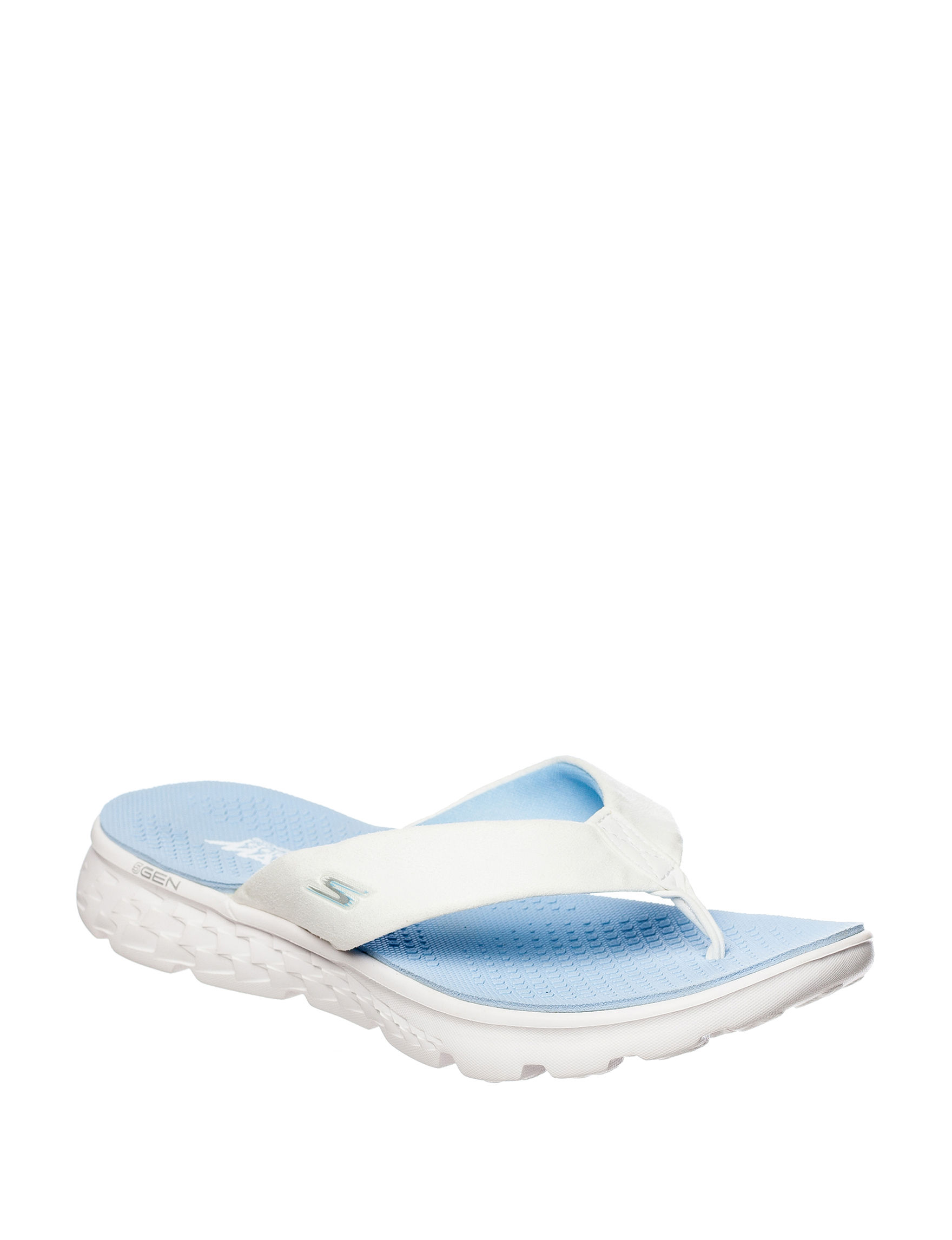 Skechers White/Lt Blue Flat Sandals Flip Flops Sport Sandals