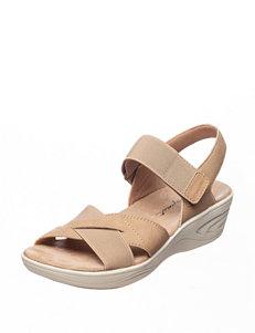 Easy Spirit Beige Wedge Sandals
