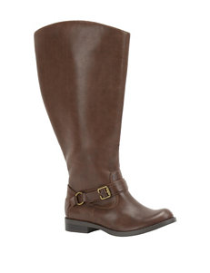 Easy Street Brown Burnish Riding Boots Wide Calf