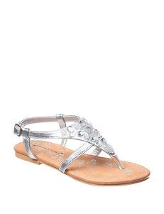 Rampage Silver Flat Sandals Flip Flops